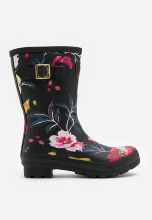 Joules Molly Welly Black Floral Womens Casual Comfort Mid Height Wellingtons