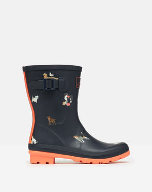 Joules Molly Welly Navy Beach Dogs Womens Casual Comfort Mid Height Wellies