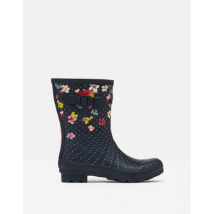 Joules Molly Welly Navy Blossom Womens Casual Comfort Mid Height Wellingtons