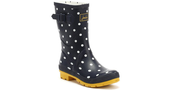 Joules Molly Welly Spot French Navy Womens Casual Comfort Mid Height Wellingtons