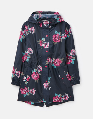 Joules Navy Floral Womens GoLightly Printed Waterproof Packaway Jacket