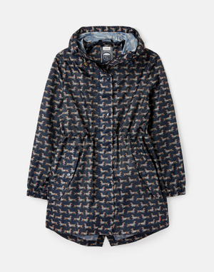 Joules Navy Sausage Dog Womens GoLightly Printed Waterproof Packaway Jacket