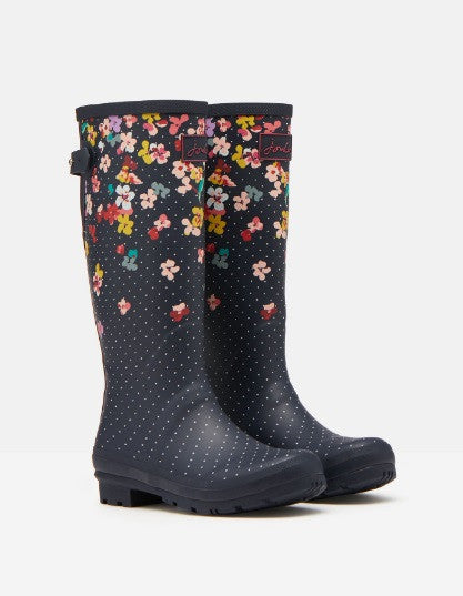 Joules Welly Print Navy Blossom Womens Casual Comfort Full length Wellies