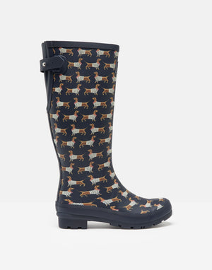 Joules Welly Print Navy Sausage Dog Womens Casual Comfort Full length Wellies