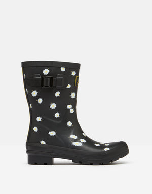 Joules Molly Welly Black Daisy Womens Casual Comfort Mid Height Wellingtons