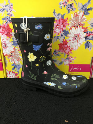 Joules Molly Welly Black Floral Womens Casual Comfort Mid Height Wellies