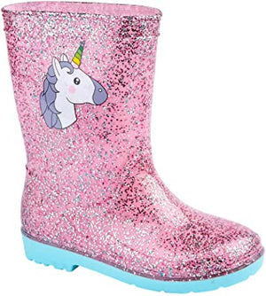Kids Pink Unicorn Sparkle Wellingtons