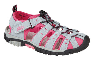 PDQ L377PK Grey/Fuschia Womens Casual Walking Trail Sandals