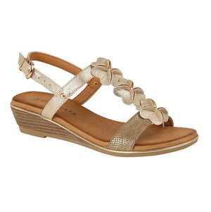 Cipriata L378BG Gold Metallic Women's Casual Wedge Floral Detail Sandals