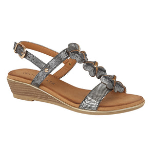 Cipriata L378FS Pewter Metallic Women's Casual Wedge Floral Detail Sandals