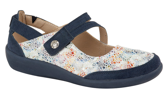 Boulevard L388C Blue Floral Leather Womens Casual Shoes