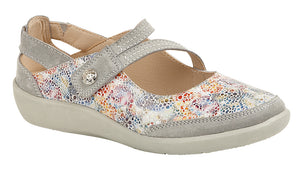 Boulevard L388F Grey Floral Leather Womens Casual Shoes