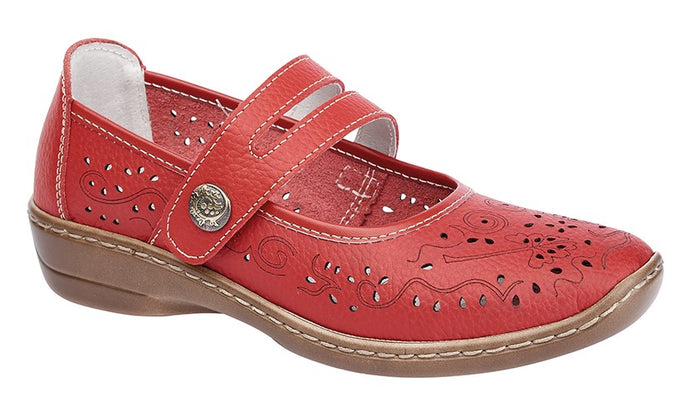 Boulevard L394D Red Womens Touch Fastening Casual Comfy Real Leather Shoes