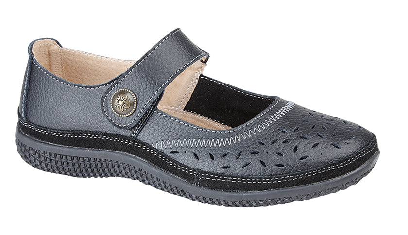440730a4c5b Boulevard L408A Women Wide Fit EEE Casual Touch Fasten Real Leather Shoes  Black