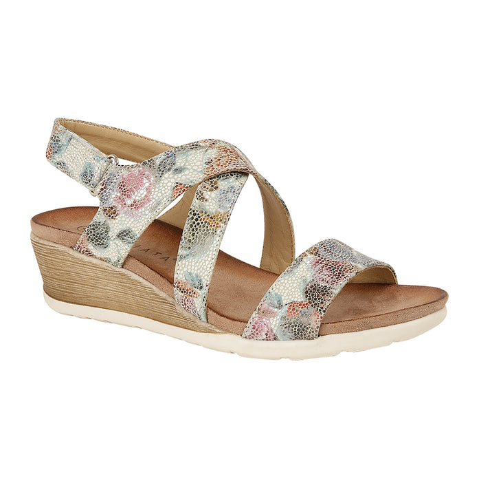 Cipriata L461FM Multi Floral Womens Casual Crossover Sandals