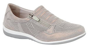 Boulevard L534F Grey Shimmer Women's Suede Textile Side Zip and Gusset Trainers