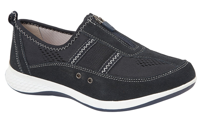 Boulevard L535C Navy Womens Wide Fit Casual Shoes