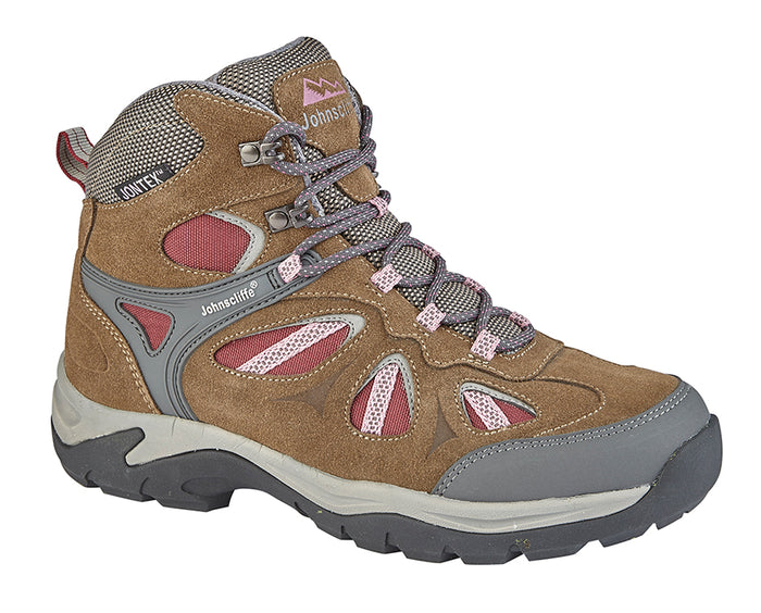 Johnscliffe L575B Brown/Burgundy Womens Quality Comfort Hiking Boot
