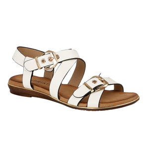 Cipriata L626G White Women's Casual Stylish Twin Buckle Fastening Sandals