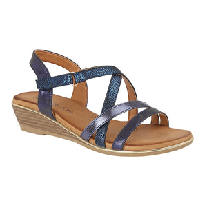 Cipriata L637C Blue Metallic Womens Casual Sandals