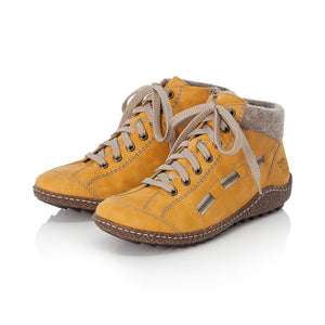 Rieker L7543-69 Yellow Womens Casual Comfort Zip/Lace Up Ankle Boots