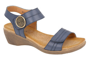 Boulevard L9525C Womens Twin Touch Fastening Casual Summer Sandals Navy