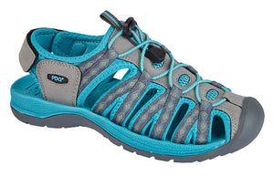 PDQ L9529FE Grey/Teal Synthetic Suede Womens Casual Sandals