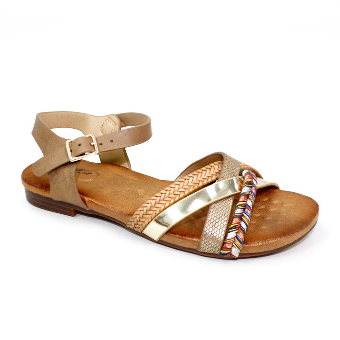 Lunar JLH 034 Louisa Brown Mixture Cross Over Straps Sandals