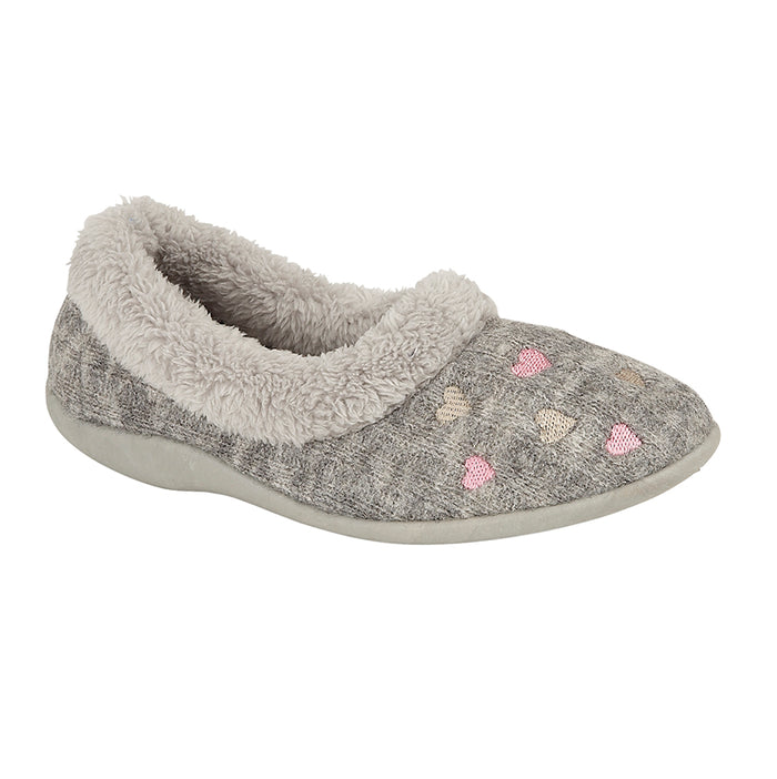 Sleepers LS377F Grey Womens Casual Comfort Slippers