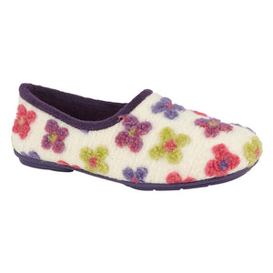 Sleepers LS382BE Cream Multi Womens Casual Comfort Slippers