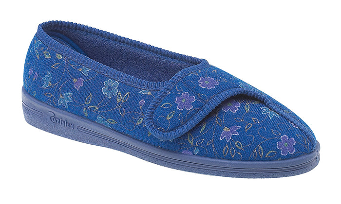 Comfylux LS442C Diana Blue Floral Womens Washable Comfort Slippers
