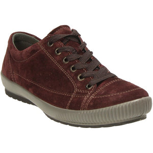 Legero 5-00820-59 Amarone Burgundy Women's Velour Lace Up Casual Trainers Shoes