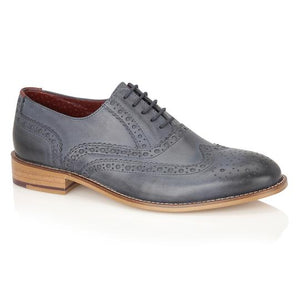 London Brogues Gatsby Shoe Navy Leather Mens Smart Shoes