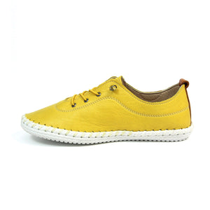 Lunar FLE030 St Ives Yellow Womens Casual Comfort Leather Lace Up Trainers