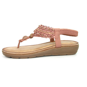 Lunar JLH162 Nesta Pink Womens Casual Comfort Slingback Toe Post Sandals