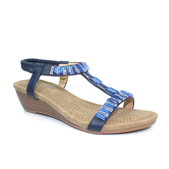 Lunar JLH877 Reynolds Blue Womens Gem and Rhinestone Wedge Sandals