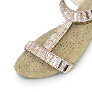 Lunar JLH877 Reynolds Rose Gold Womens Gem and Rhinestone Wedge Sandals