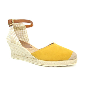 Lunar JLN087 Jolie Mustard Womens Casual Comfort Leather Wedge Sandals