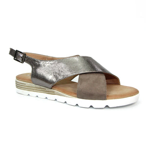 Lunar JLY165 Linzi Pewter Womens Casual Comfort Cross Over Sandals