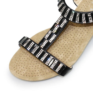 Lunar Reynolds Black JLH877 Womens Gem and Rhinestone Wedge Sandals