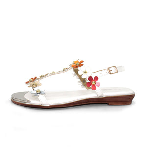 Lunar Tonga JLH 090 White Women's Buckled Ankle Strap T Bar Style Sandals