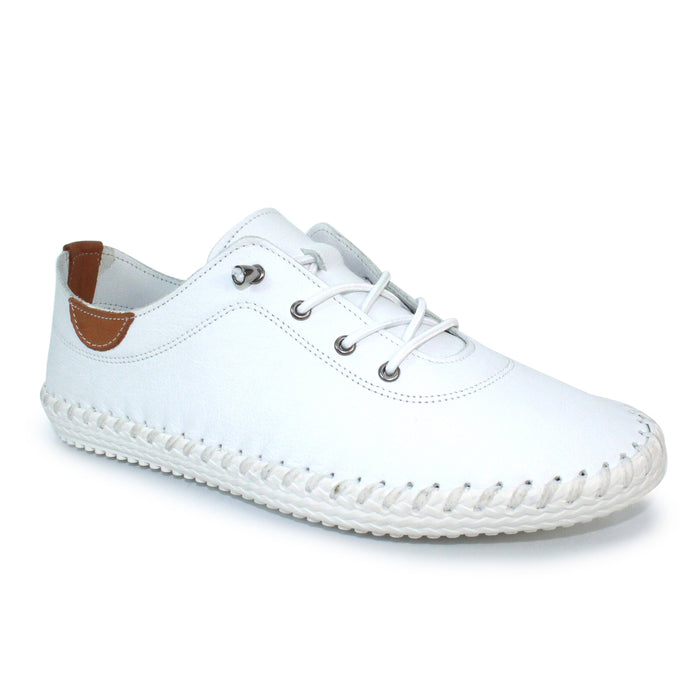 Lunar FLE030 St Ives White Womens Casual Comfort Leather Lace Up Trainers