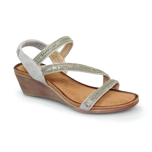 Lunar JLH073 Sofia Grey Womens Casual Comfort Wedge Sandals