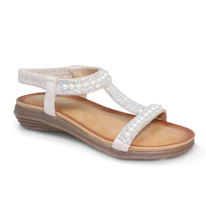 Lunar JLH078 Tancy White Womens Casual Comfort Pearl Glitz Low Wedge Sandals