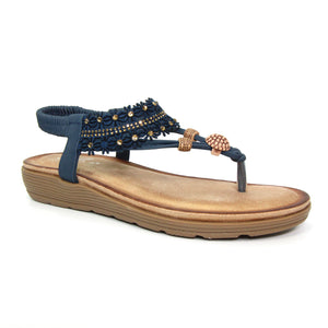 Lunar JLH162 Nesta Blue Womens Casual Comfort Slingback Toe Post Sandals