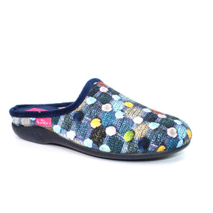 Lunar KLA096BL Crackle Blue Womens Comfort Slip On Mule Slippers