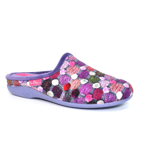 Lunar KLA096PP Crackle Purple Womens Comfort Slip On Mule Slippers