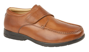 Roamers M190BT Tan Mens Leather Upper Casual Comfort Wide Fit Touch Fastening Sh