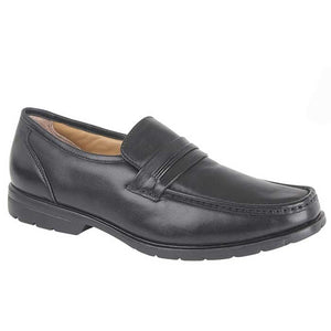 Roamers M253A Black Mens Leather Casual Comfort Slip On Shoes