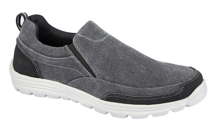 DEK M336A Grey Mens Casual Comfort Twin Gusset Slip On Shoes